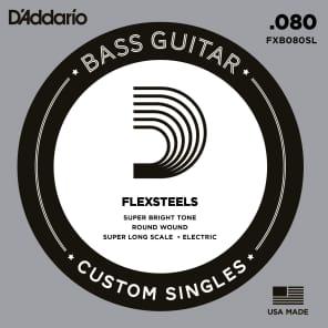 D'Addario FXB080SL FlexSteels Bass Guitar Single String Super Long Scale .080