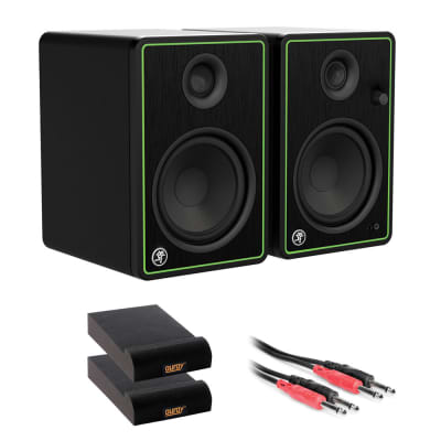 """Mackie CR5-X Series 5"""" Studio Monitors (Pair) with 2x Small Isolation Pad & 3.3' Phone to Phone (1/4"""") Cable Bundle"""