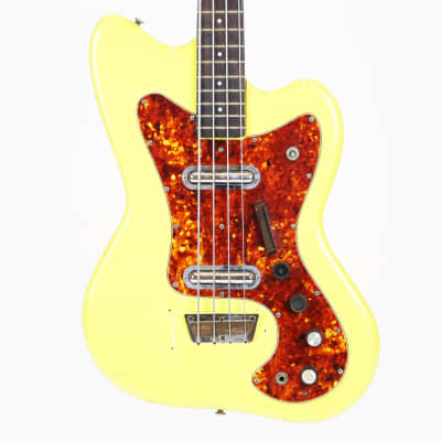 1967 Silvertone 1443 Long-Scale Vintage Original 4-String Bass Guitar w/ Lipstick Pickups by Danelectro Yellow Refin with Original Hard Case for sale