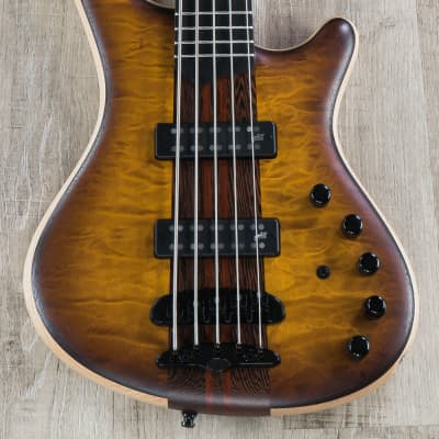Mayones Prestige Classic 5 Bass, 5-String, Amber Burst, Quilt Maple, Ebony, Aguilar for sale