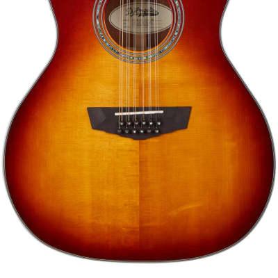 D'Angelico Premier Fulton A/E 12 String Guitar, Iced Tea Burst, DAPG212ITBAPS
