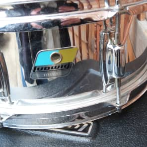 ludwig  snare olive and blue badge 4.5 chrome