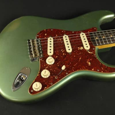 Fender Custom Shop Masterbuilt 60's Journeyman Relic Stratocaster - Green Ice Blue Metallic by Greg Fessler for sale
