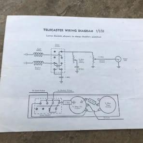Vintage Fender Telecaster Wiring Diagram 1953 Fendertintin Reverb