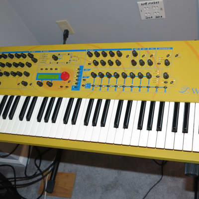 Waldorf yellow Q digital VA keyboard synth made in Germany 2001, with SKB road case & all new knobs
