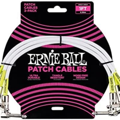 Ernie Ball 3-Pack Patch Cables  1 ft. White for sale