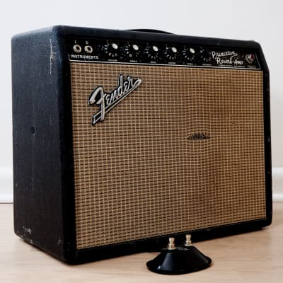 1967 Fender Princeton Reverb Vintage Blackface Tube Amp w/ Jensen C10Q Speaker, Footswitch for sale