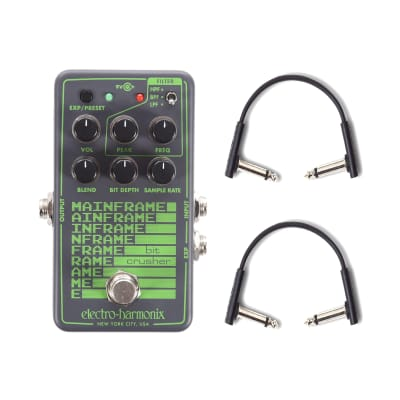 Electro-Harmonix Mainframe Bit Crusher w/(2) RockBoard Flat Patch Cables Bundle