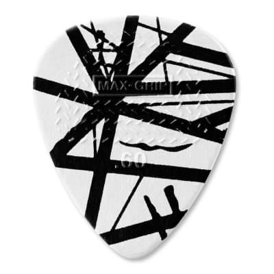 Dunlop EVHP03 Eddie Van Halen White With Black Stripes Max-Grip .60mm Guitar Picks (6-Pack)