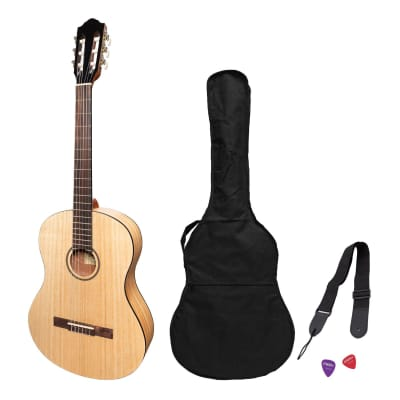 Martinez 'Slim Jim' Full Size Student Classical Guitar Pack with Built In Tuner (Mindi-Wood) for sale