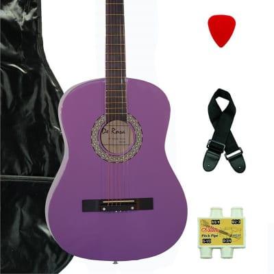 De Rosa DK3810R-PL Kids Acoustic Guitar Outfit w/Gig Bag, Pick, Strings, Pitch Pipe & Guitar Strap for sale