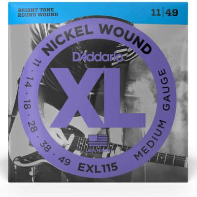 D'Addario EXL115 Nickel Wound Electric Guitar Strings Medium Blues/Jazz Rock 11-49