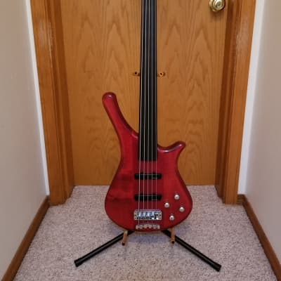 Warwick Fortress One 5 string fretless bass 1994 Burgundy Red Transparent for sale