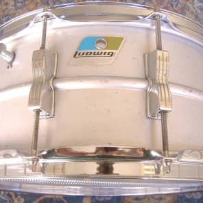 """Ludwig 6.5x14"""" NYC Board of Education Acrolite Snare Drum with Pointed Blue/Olive Badge 1971"""