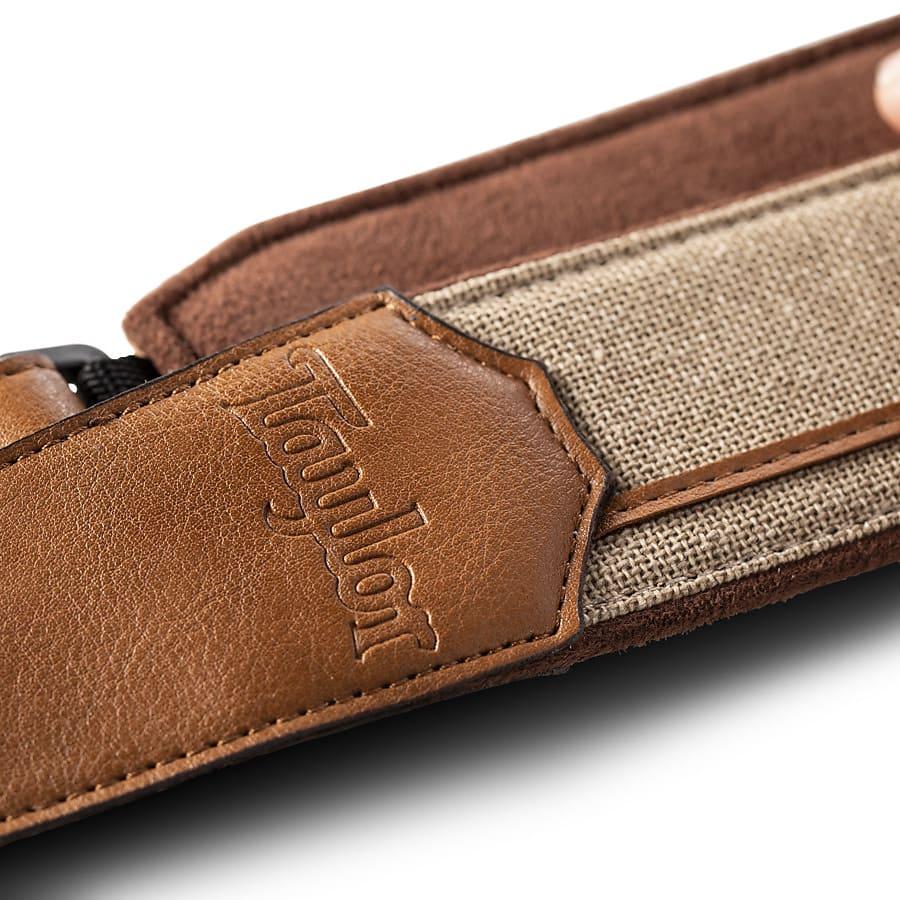 Taylor Strap, Vegan Leather, Tan with Natural Textile Trim , 2.5