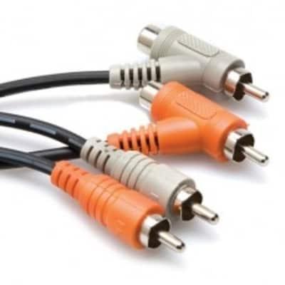 Hosa CRA-201PB Stereo Interconnect, Dual RCA to Dual Piggyback RCA, 1 m