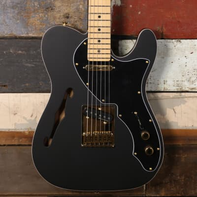 Fender FSR Noir LTD Deluxe Telecaster Thinline Satin Black Gold Hardware 0140049306 for sale