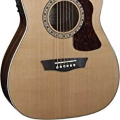 Washburn Heritage Series HF11SCE Cutaway Folk Style Acoustic Guitar, Natural for sale