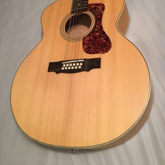 Guild F-2512E  12 string acoustic electric Natural finish with heavy duty gigbag, feather light image