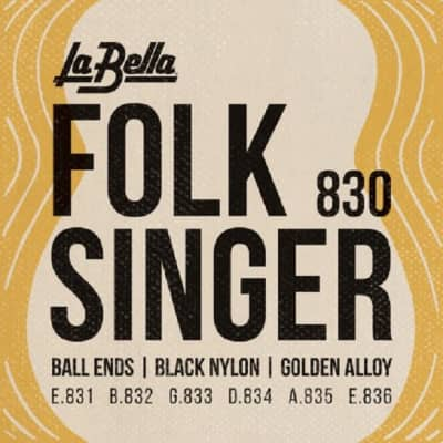 La Bella 830 Folk Singer Nylon Guitar Strings Black Ball End