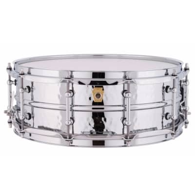 """Ludwig LM400KTWM Hammered Supraphonic 5x14"""" Aluminum Snare Drum with Tube Lugs and P-86 Millennium Strainer"""
