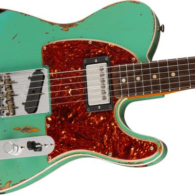 Fender Custom Shop Heavy Relic 1960 Telecaster HS, Rosewood Fb, Aged Surf Green over 3-Color Sunburst 608 for sale