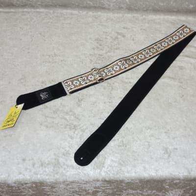NEW! Jaykco Handmade Guitar Strap CV Brown and White Flower 16021