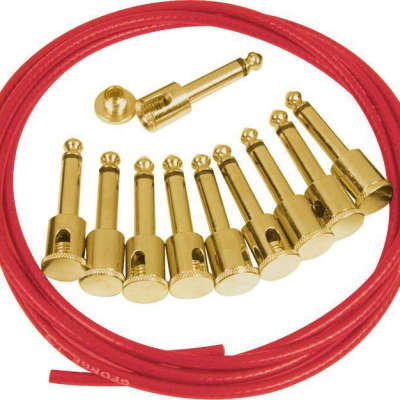 George L's Pedalboard Effects Cable Kit - Red Cable .155 Unplated Plugs