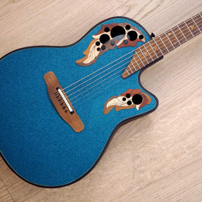 1996 Adamas by Ovation 1881-NBBG 87 Blue Green Mid-Depth Carbon-Graphite Acoustic Guitar w/ohc for sale