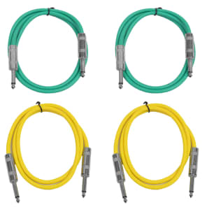 """Seismic Audio SASTSX-3-2GREEN2YELLOW 1/4"""" TS Male to 1/4"""" TS Male Patch Cables - 3' (4-Pack)"""