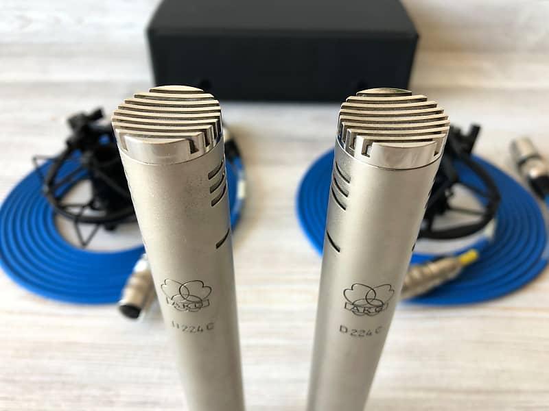 1969 Matched Pair Of AKG D224C Vintage Dynamic Microphones w/Tuchel on