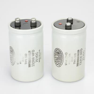 2 Sangamo Capacitors 3436 Type 500 13,500 MFD 70VDC Screw Terminal #40012