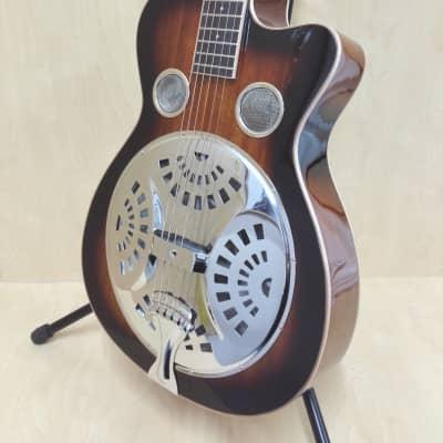 Haze All-Mahogany Roundneck Resonator Guitar,Tobacco Sunburst+Free Bag |SDG-738| for sale