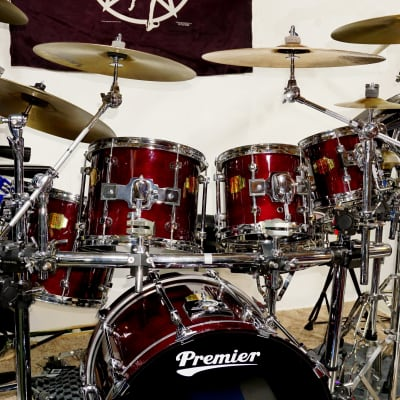 """Premier Signia Cherrywood Drums - 4 toms, 1 kick - includes 8"""" and 15"""" rare tom sizes 1990s  CLEAN!"""