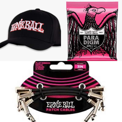 "Ernie Ball ERNIE BALL 1962 LOGO HAT L/XL/Paradigm 9-42 x One Set, 3x 3"" Flat Ribbon Patch Cables for sale"
