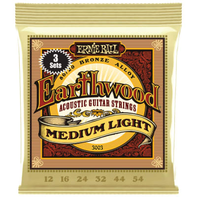 Ernie Ball Earthwood 80/20 Bronze Acoustic Guitar String 3 Pack - Medium Light (12-54)