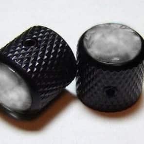 Guitar Parts METAL DOME KNOBS Knurled Barrel 1/4inHole - SMOKEY BLACK PEARL TOP - Set of 2 - BLACK