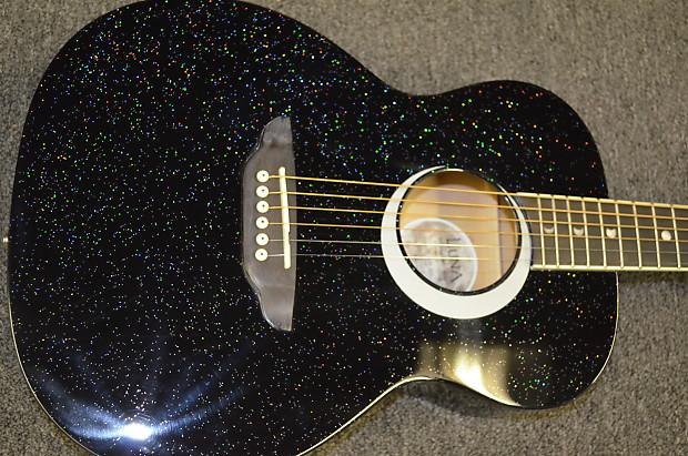 43cc0963173 Luna Aurora Borealis 3 4 Size Acoustic Guitar Black Sparkle
