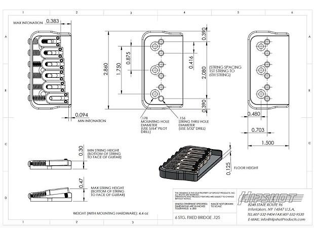 Hipshot 6 String Us Fixed Guitar Bridge 125 Black 41100b