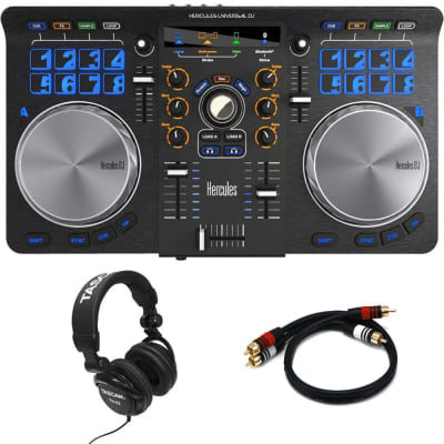 Hercules Universal DJ Bluetooth DJ Software Controller + Tascam TH-02 Studio Headphones and RCA Cable.