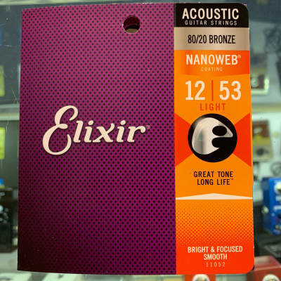 Elixir 80/20 bronze nanoweb 12-53 Acoustic Guitar Strings New