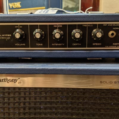 Harmony H1720 Piggy-Back Solid State Amplifier Early 1970s Blue for sale