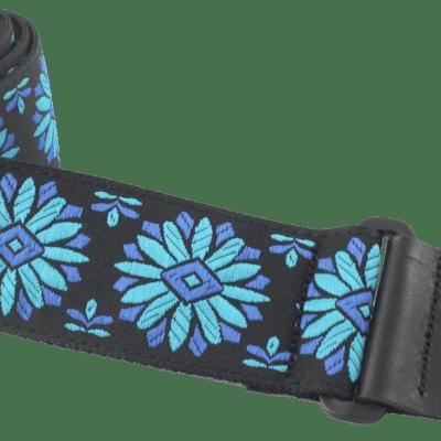 """Henry Heller HJQ2-10 2"""" Woven Blue & Teal Floral Jacquard Guitar Strap"""