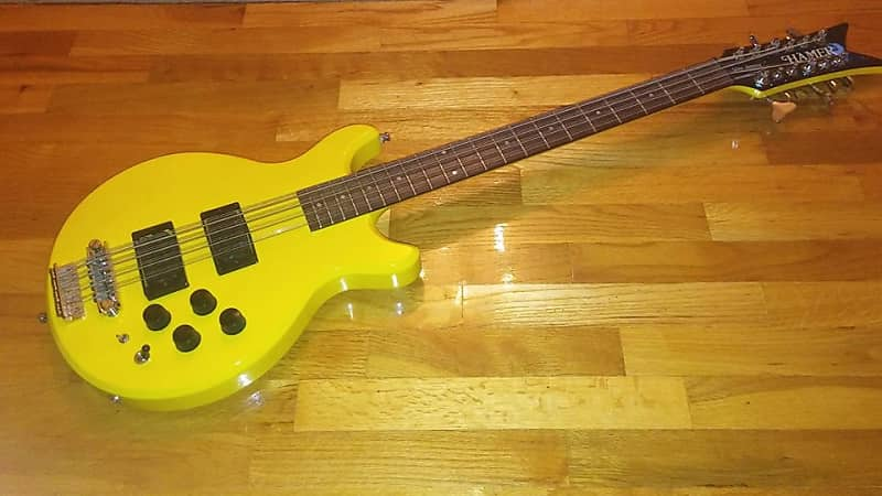 hamer b12s 12 string bass guitar 1986 yellow with case reverb. Black Bedroom Furniture Sets. Home Design Ideas