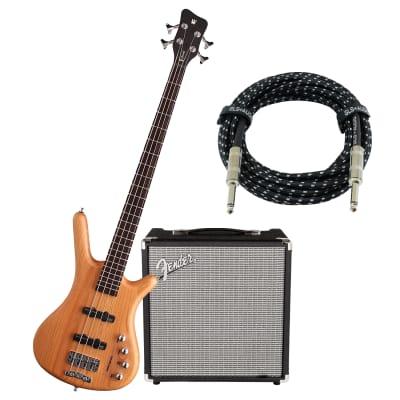 Warwick Rockbass Corvette Active 4-String Bass (Natural Satin), Fender Rumble 25, GLS Guitar Cable Bundle