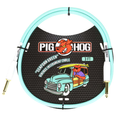 """Pig Hog Vintage Woven Patch Cable, 3-Foot, 7mm, 1/4"""" Straight Connectors, Seafoam Green (PCH3SG)"""