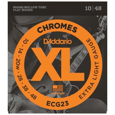 D'Addario ECG23 Chromes Flat Wound Electric Guitar Strings Extra Light 10-48