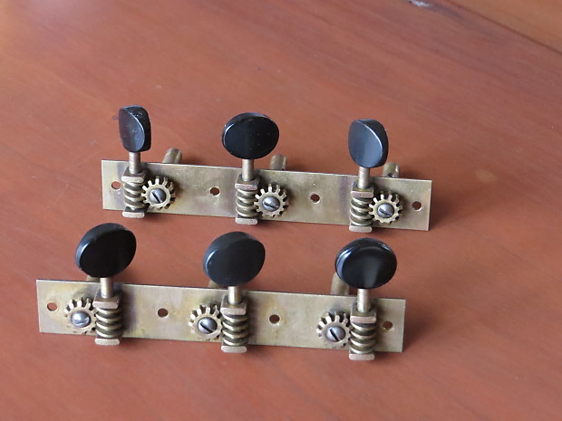 Waverly Slotted Headstock Guitar Tuners Early 1900's Brass w/Black Buttons  Excellent w/Screws