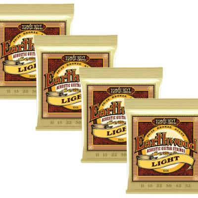 4 PACK Ernie Ball 2004 Earthwood 80/20 Bronze Light Acoustic Guitar Strings (11-52)
