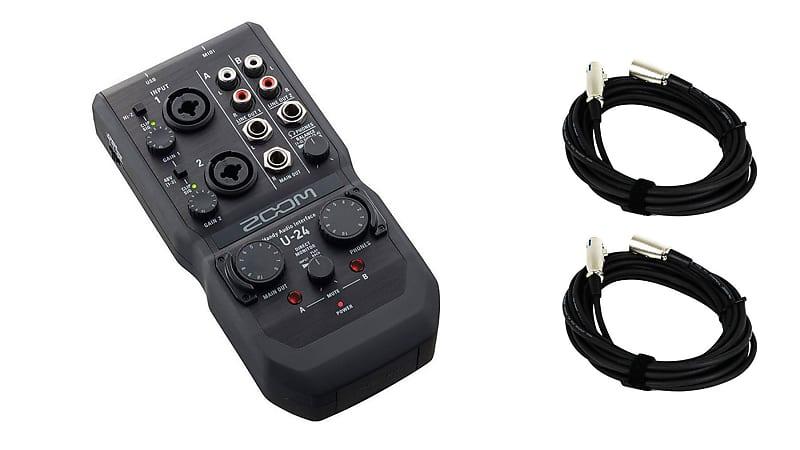 Zoom U24 USB Interface w/ 2 XLR Cables Bundle